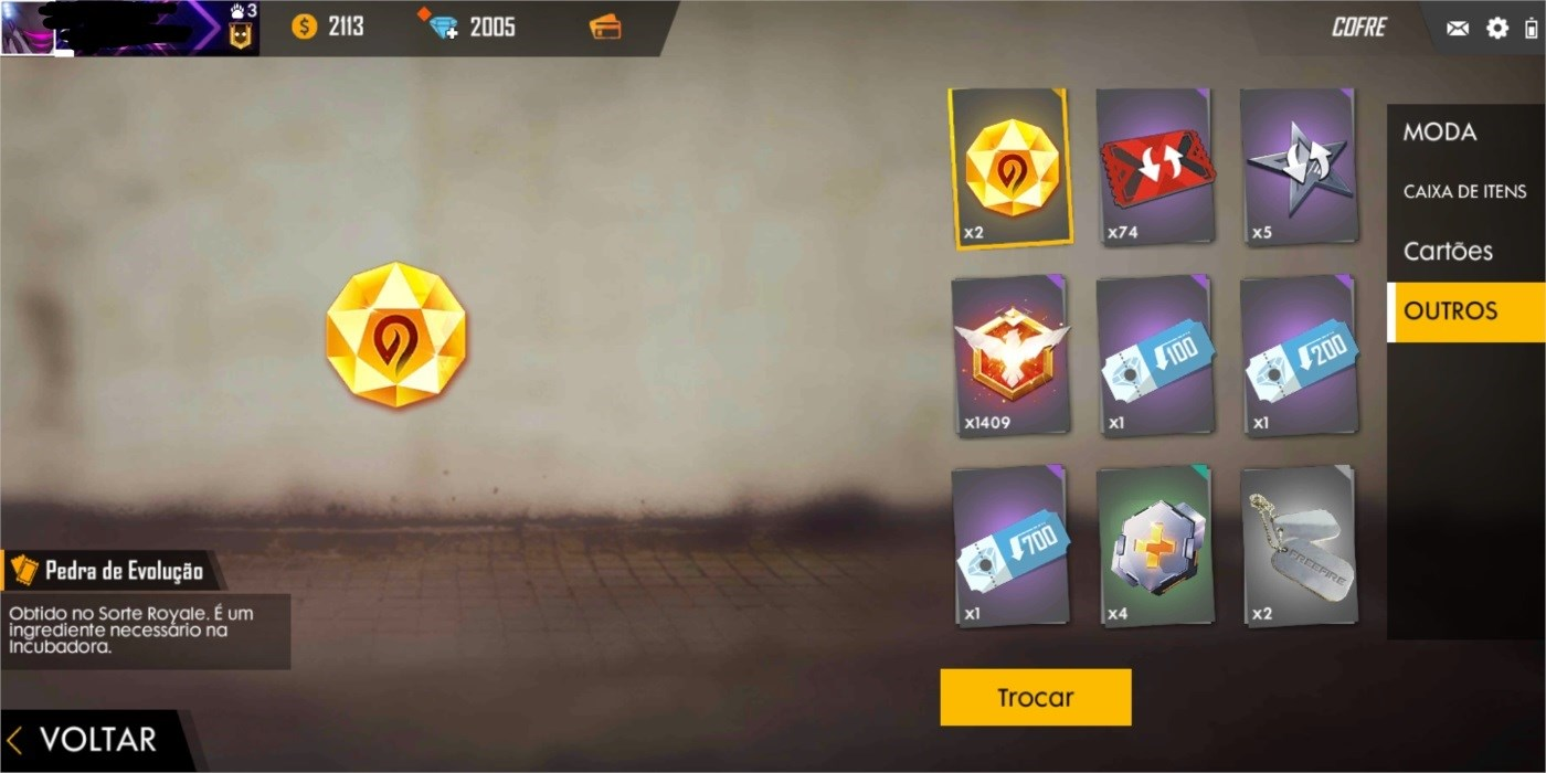 Conta Free fire+2000 Diamantes