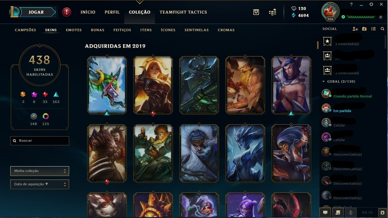 Conta League of Legends lvl 306 com 438 skins Platina 3