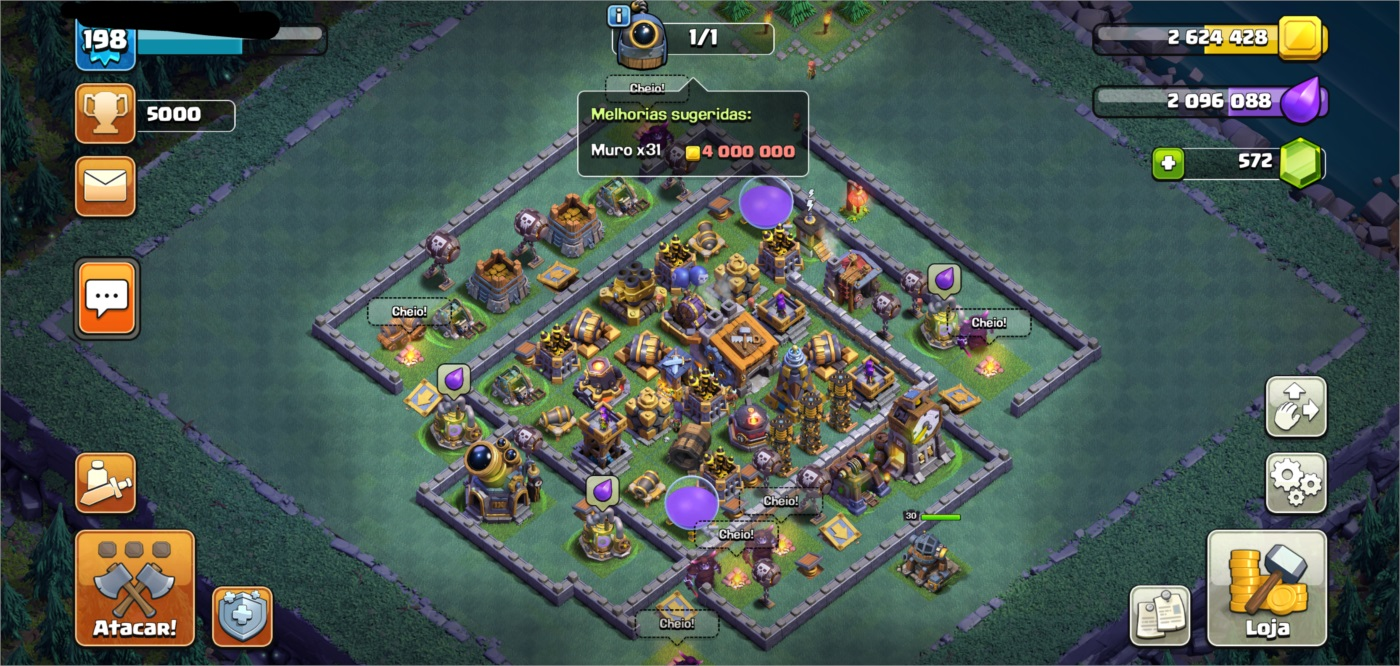 Clash of Clans CV 13 quase Full barato