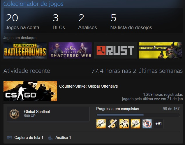 Conta CSGO Global Elite - 15 Anos Steam
