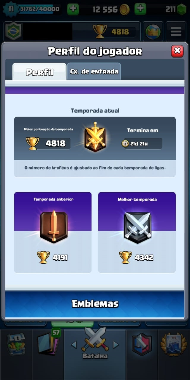 CONTA CLASH ROYALE TODAS AS CARTAS 4818 TROFÉUS