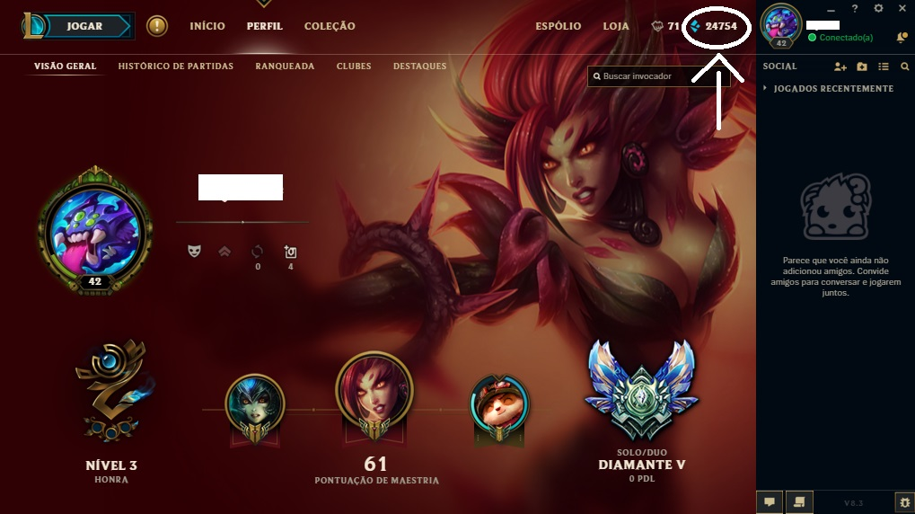 Conta lol Diamante V