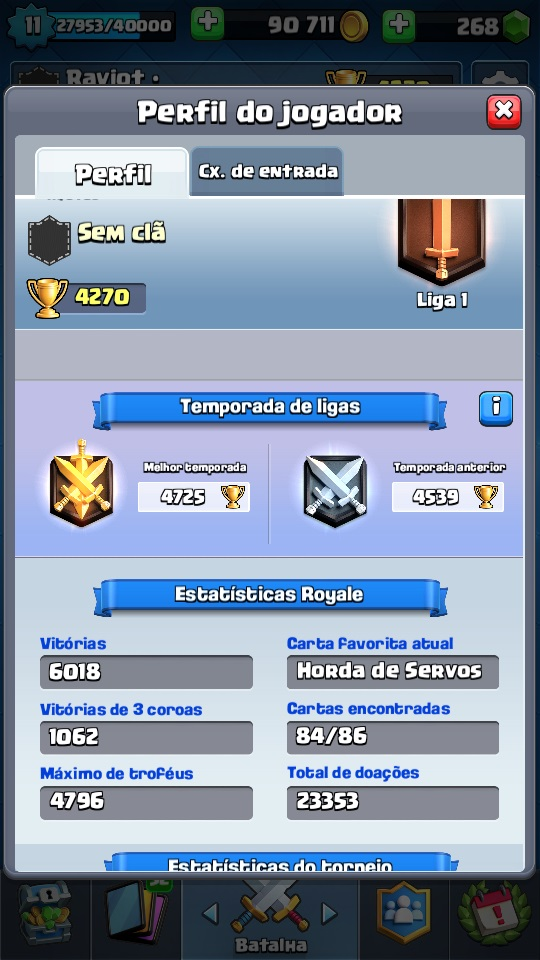 Conta Clash Royale - Record 4796 Trofeus