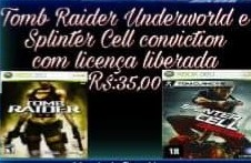 Tomb Raider Underworld+ Splinter Cell mídia digital Xbox 360
