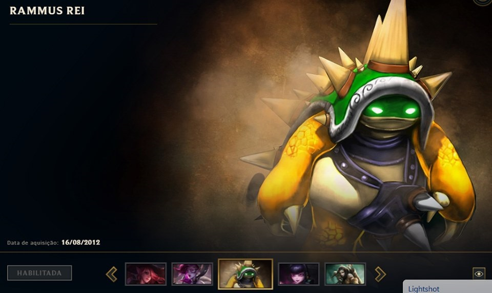 Conta LOL Rammus Rei/Annie Gótica (Closed Beta BR 2012)