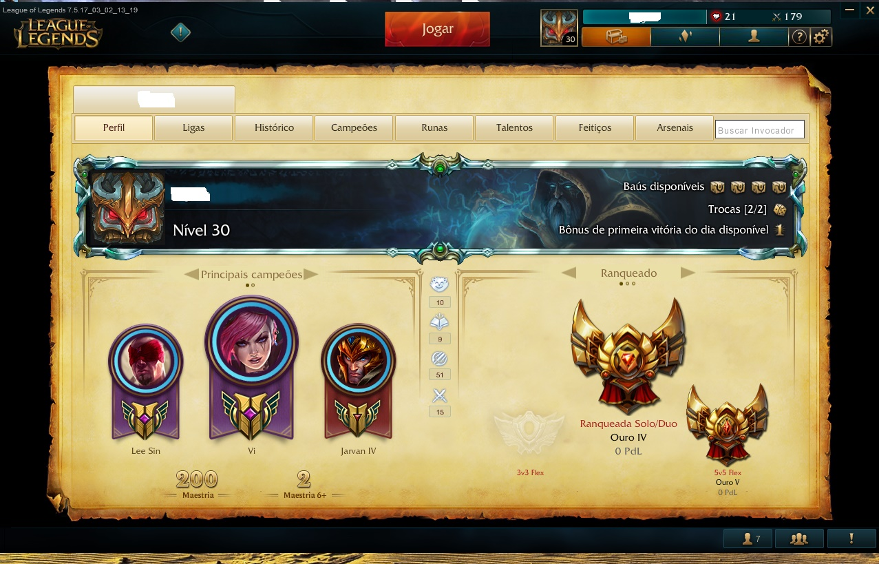 "V> CONTA LOL C/BORDA PLATINA ""GOLD 4"""