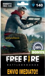 140 DIAMANTES FREE FIRE + 10% DE BÔNUS