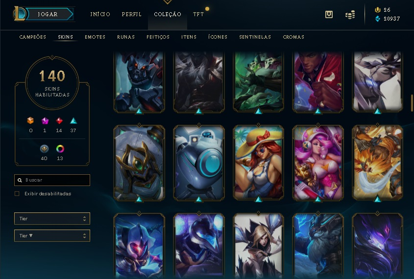 Conta league of legends skins da season 1 140 skins