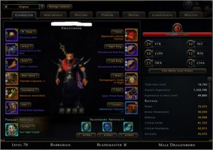 CONTA NEVERWINTER BARBARIAN GWF LVL 70 - 16K+ ITEM LEVEL