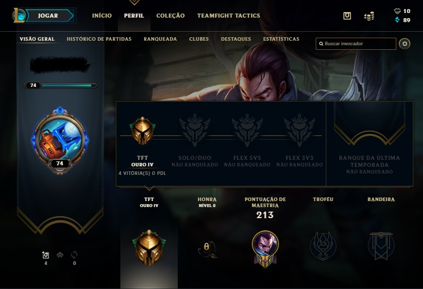 Conta league of legends unraked todos os dados
