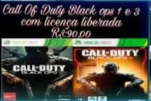 Call of Duty Black ops 1 e 3 mídia digital Xbox 360