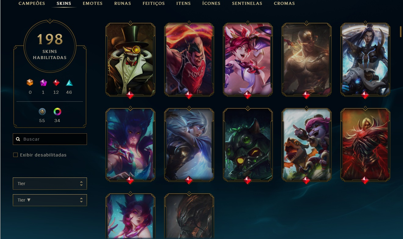 Conta lol 198 skins diamante desde a season 6