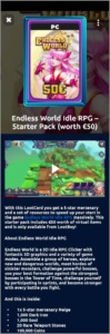 Endless World Idle RPG -  starter pack