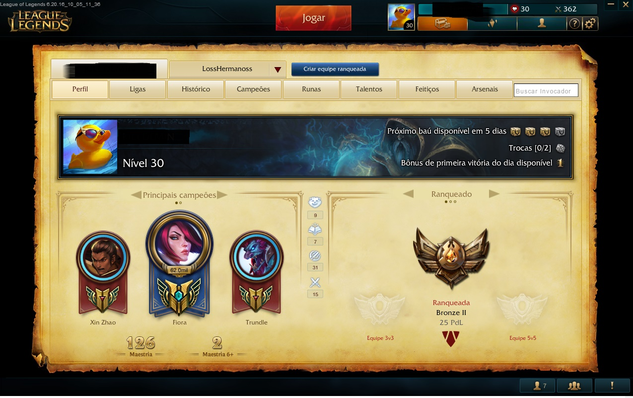 League of Legends conta bronze 2