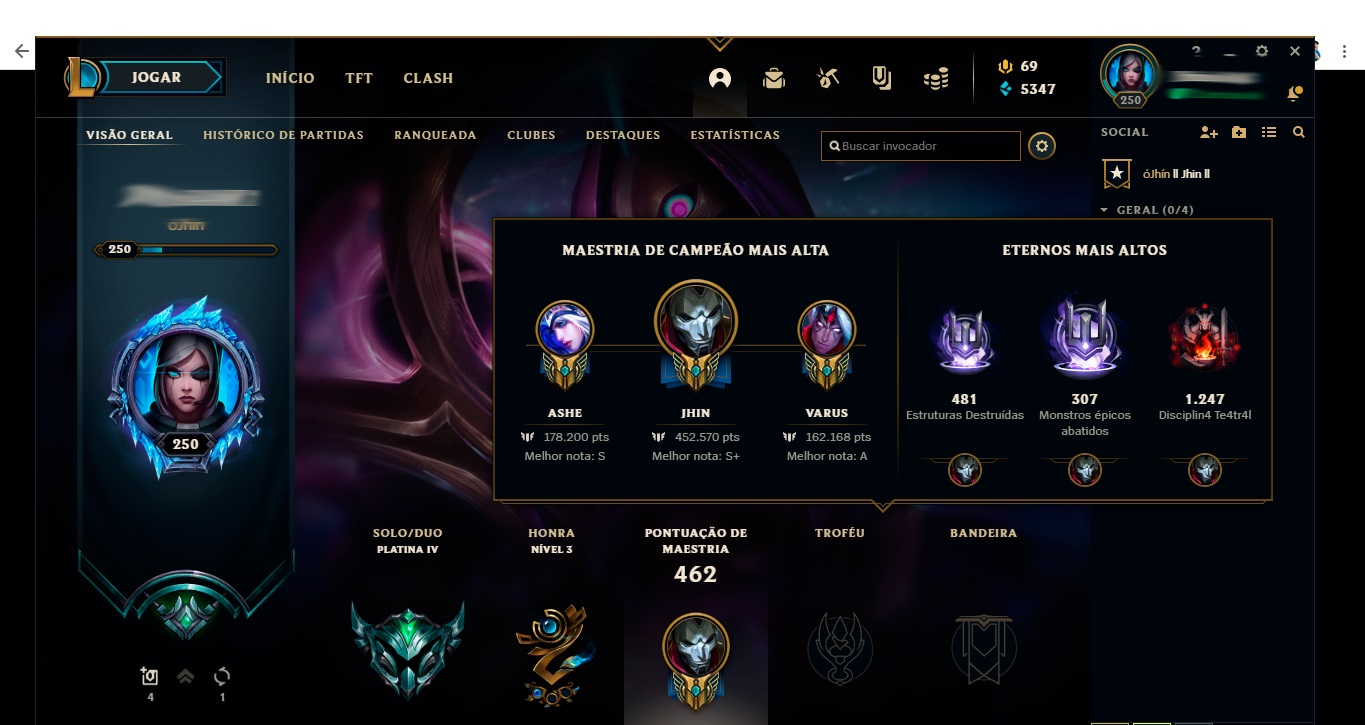 Conta league of legends - Plat 4 - ADC/SUP !