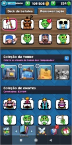 Clash Royale Nv 12 muitos emotes e skins de torre