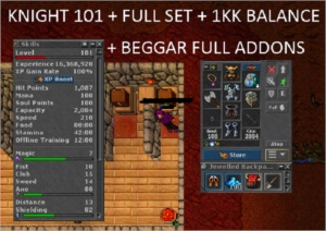 KNIGHT LVL 101 + FULL SET + 1KK BALANCE (TALERA) OPEN PVP