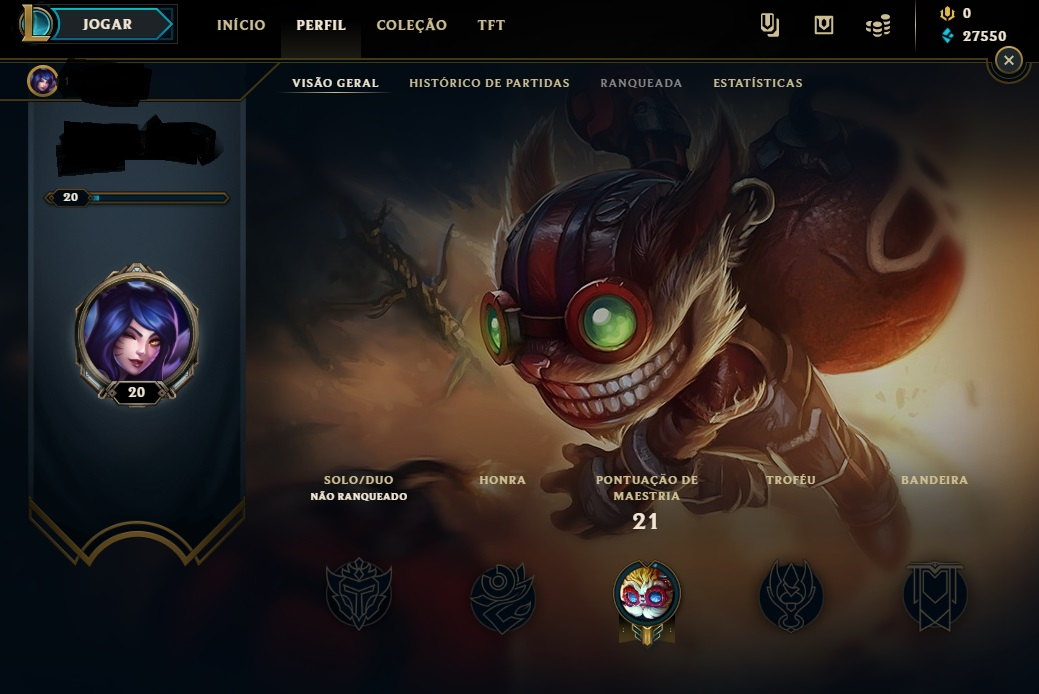 CONTA UNRAKED LEAGUE OF LEGENDS LVL 20