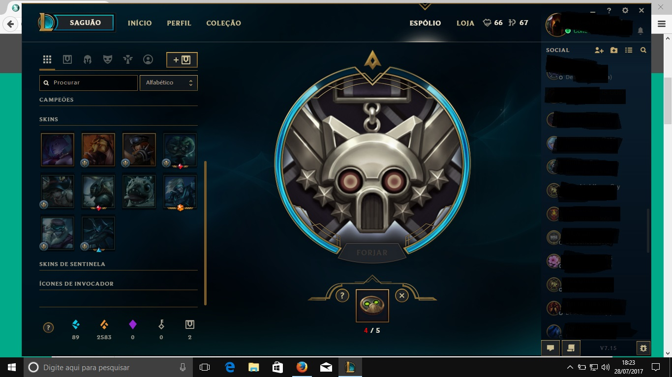 League Of Legends Vendo Acc Smurf Completa 300 Reis Em Skins Dfg