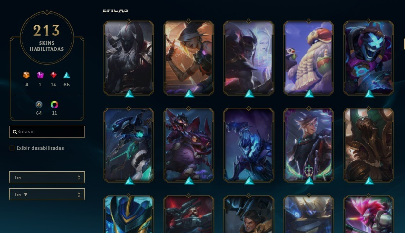 ☼ Conta League of Legends ☼  213 skin + 950 RP