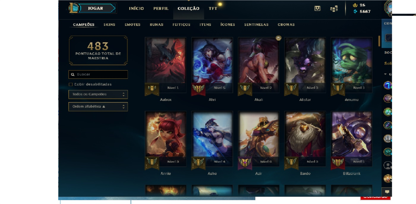 League of legends conta level 104