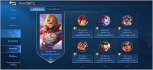 Conta mobile legends mítico 2 70 heróis, 77 skins