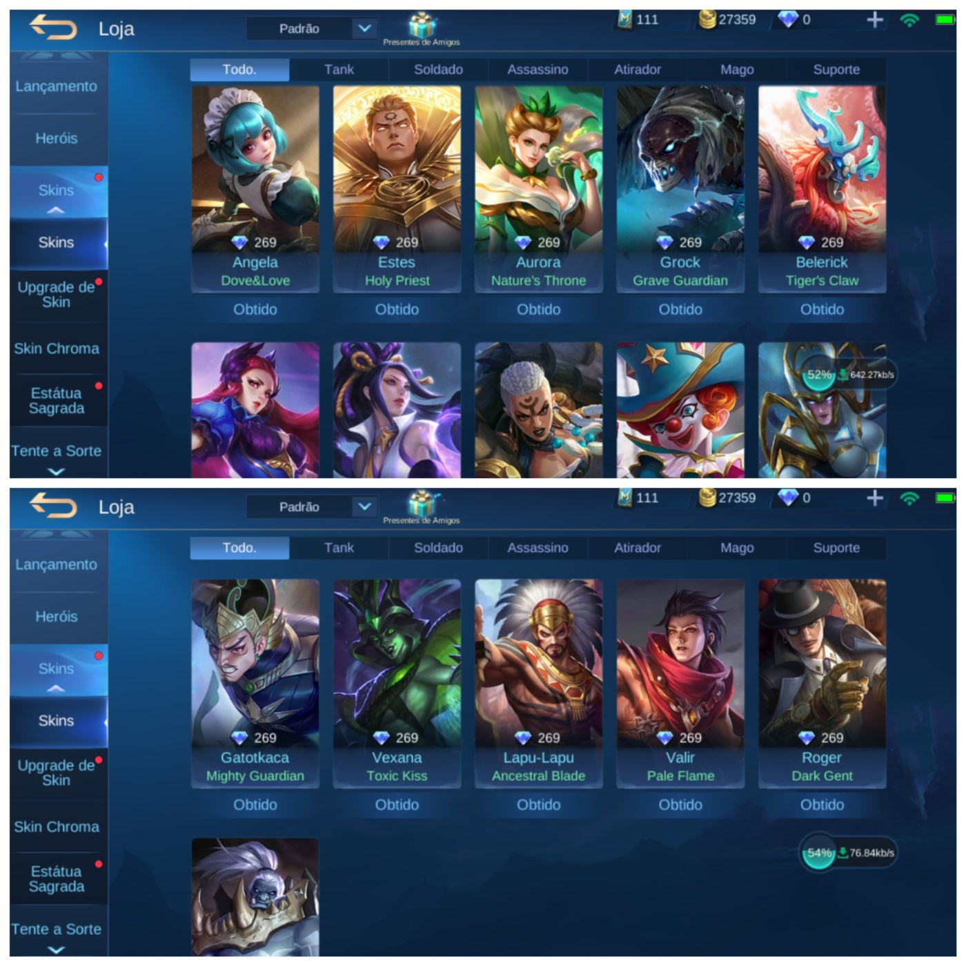 Conta mobile legends lvl 64 com 53 herois e 56 skins...