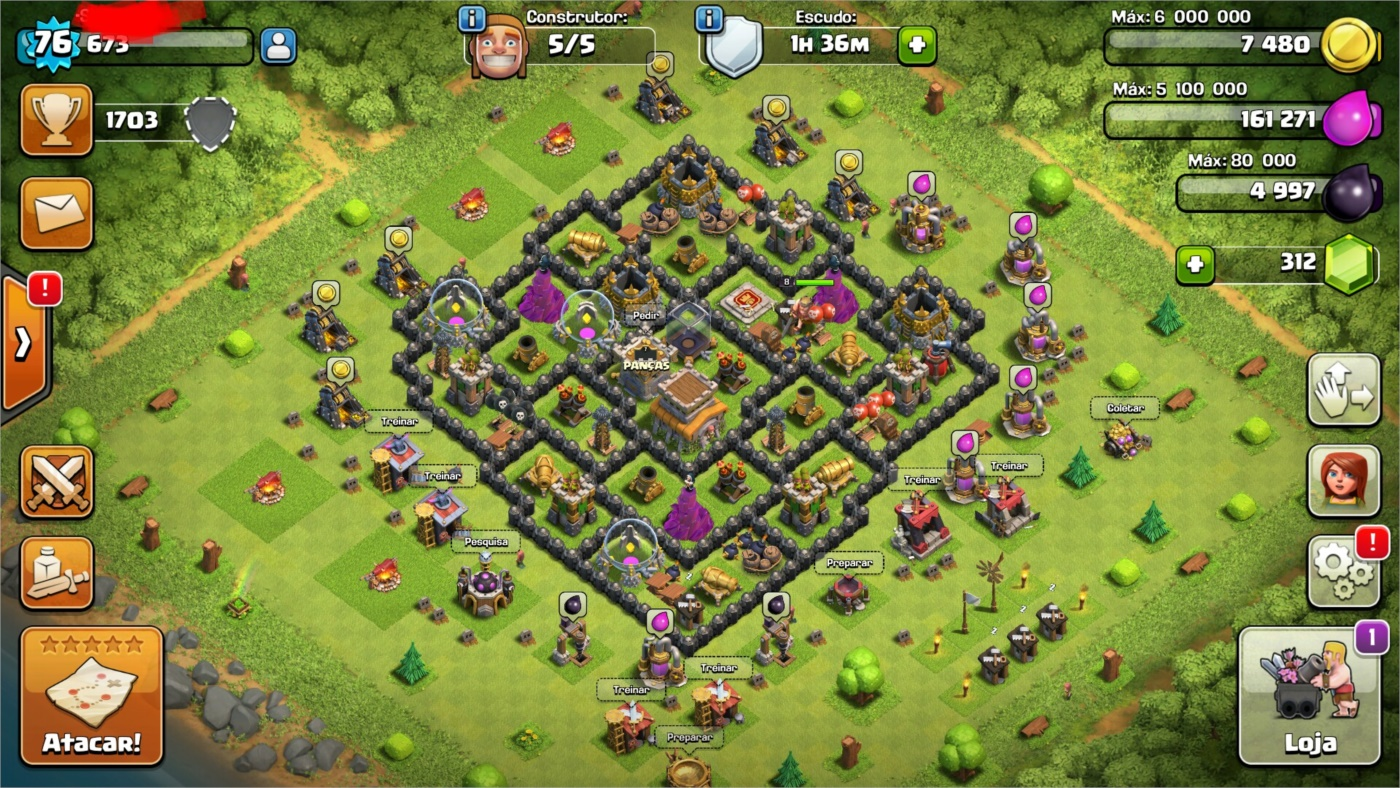 Clash Of Clans cv8 92%Full 5 Construtor !