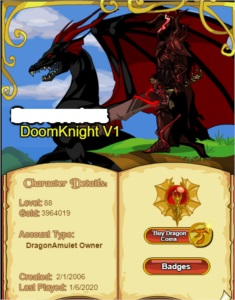 conta de dragonfable level 88