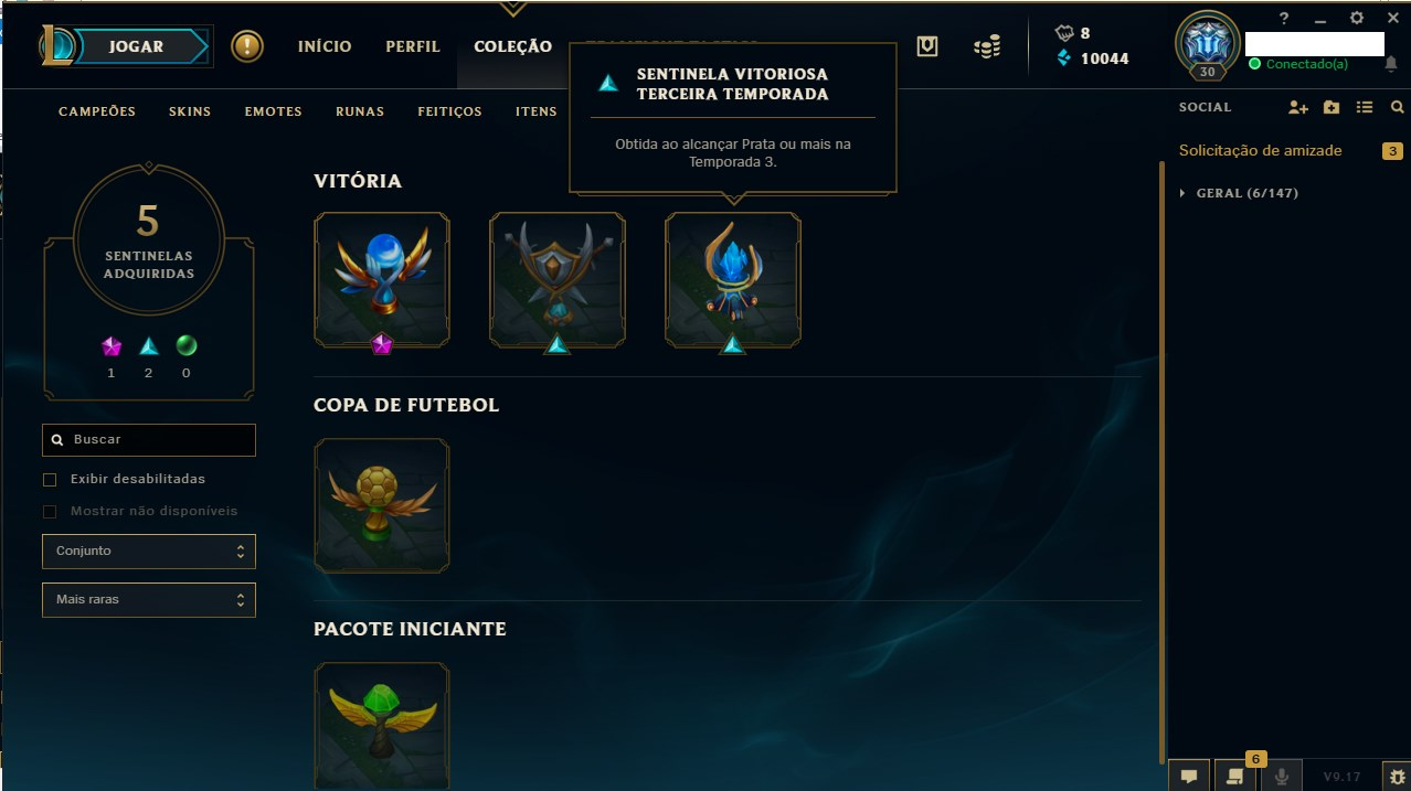 CONTA 3 SEASONS DIAMANTE E 1 SEASON PLATINA MMR ALTO