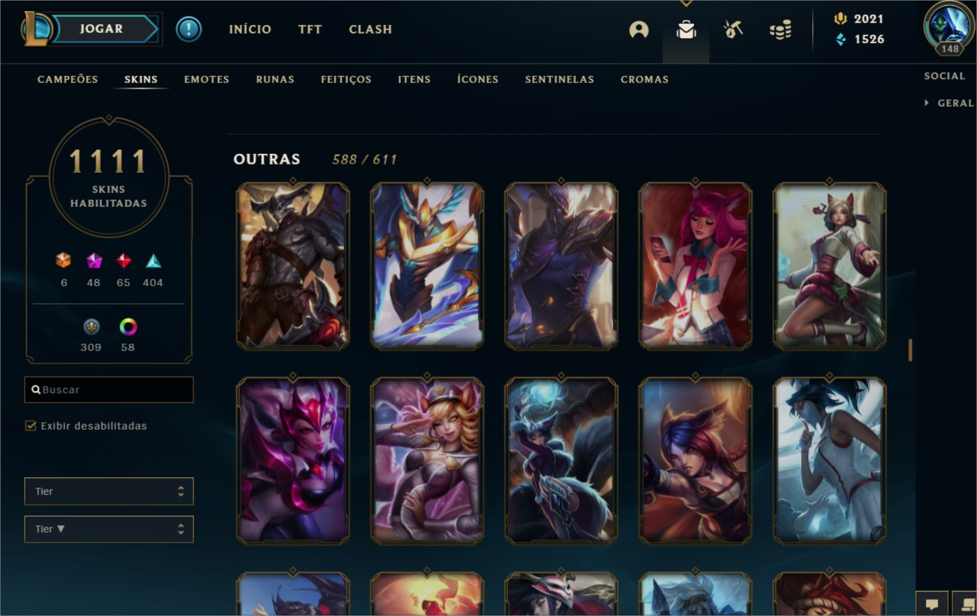 Conta league of legends lvl 148 com 1.111 skins