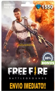 1550 DIAMANTES FREE FIRE + 10% DE BÔNUS