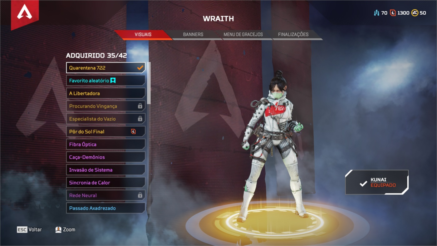 CONTA APEX LEGENDS PC HERANÇA WRAITH 150 LENDARIA