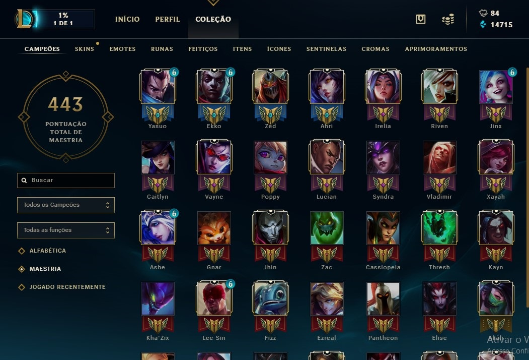 Conta de League Of Legends Gold 1 com borda de DIAMANTE