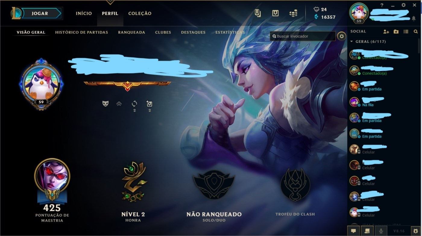 Vendo conta league os legends, +200 skins